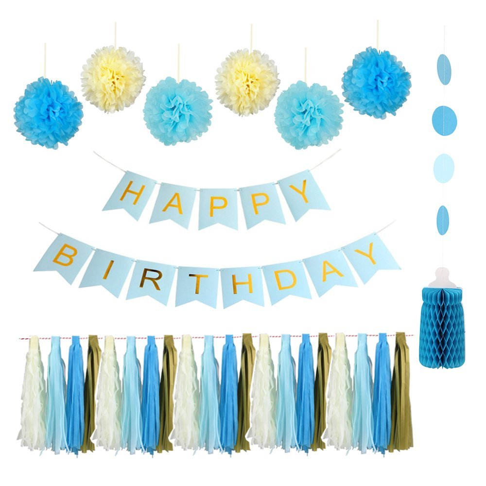 Fantastic Baby Blue Cream Snow Theme Happy Birthday banner kit for Baby Birthday Shower Party Decorations Tassel Garland