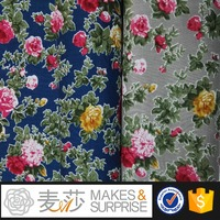 Rose printing cotton fabrics for shirts or skirts