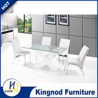 Modern X Base 8 Seater Dining Table Wooden Dining Table With Glass Top Designs