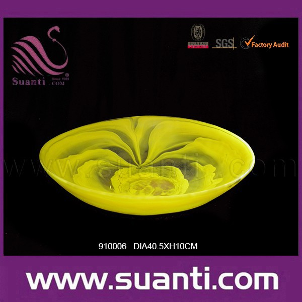 Beautiful custom decorative yellow frosted fruit platter