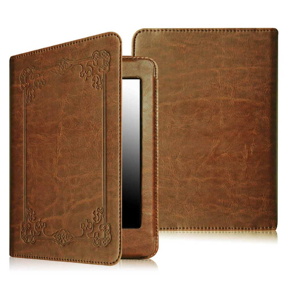 The Book Retro Style PU Leather Smart Cover Auto Sleep/Wake Slim Case for Amazon Kindle Paperwhite
