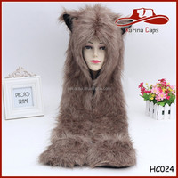 Coffee Pure Color Furry Wolf Faux Fur Animal Hat with Attached Scarf and Gloves