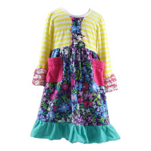 new design girls special dress ruffle long pocket shivering sleeve frocks dress