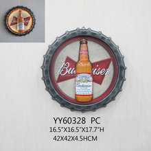 Wholesale LED custom printing metal beer cap beer bottle 3D wall arts for bar decoration