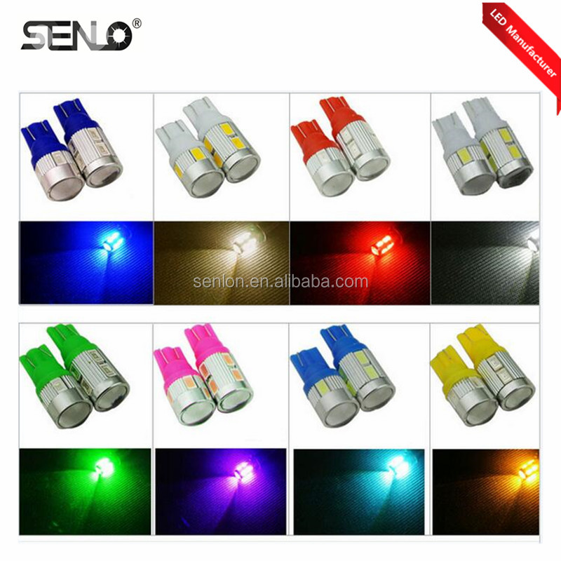 LED Cars lighting colors T10 W5W 194 168 921 car led interior light 12v 6ps 5630SMD autos clearance wedge width indicator lights