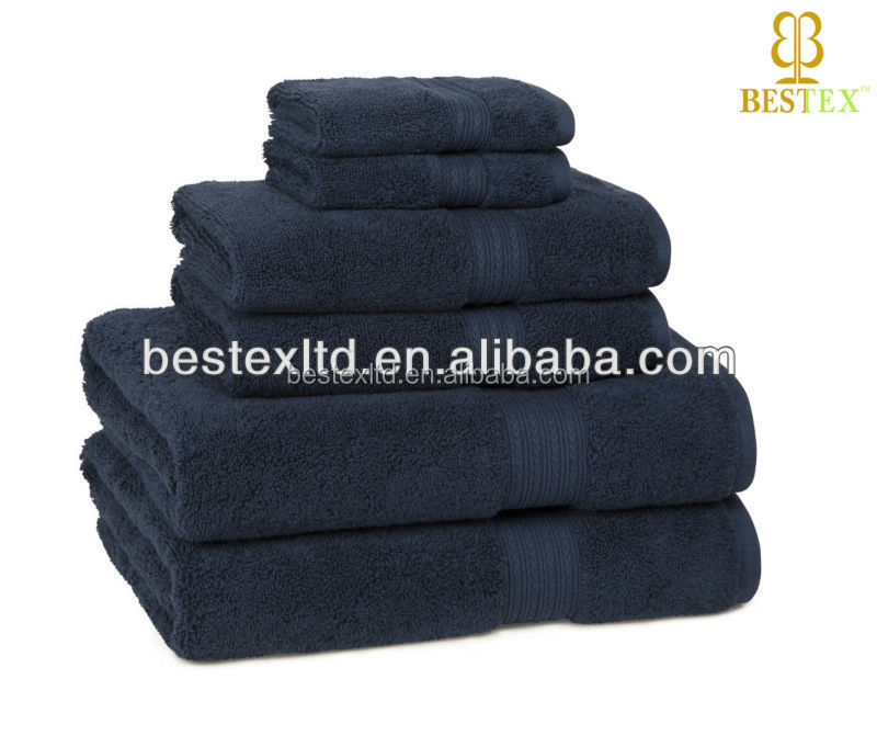 wholesale Navy Soft Quick Dry 100% Cotton Cannon Bath towels
