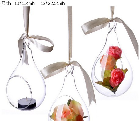 The new transparent apple shape hanging ball glass Flower vase