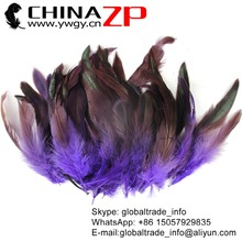 CHINAZP Wholesale Top Selling Decorative Dyed Purple Chicken Half Bronze Rooster Schlappen Feathers
