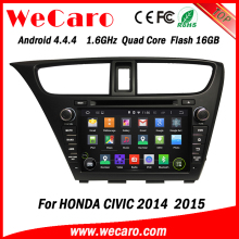 "Wecaro android 4.4.4 car gps navigation oem 8"" tft lcd touch screen car dvd for honda civic bluetooth 2014 2015"
