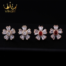Latest fashion one gram rose gold earrings designs jewelry