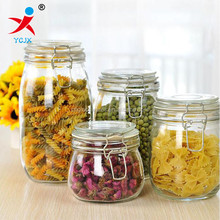 high quality glass food storage jar with metal clip top