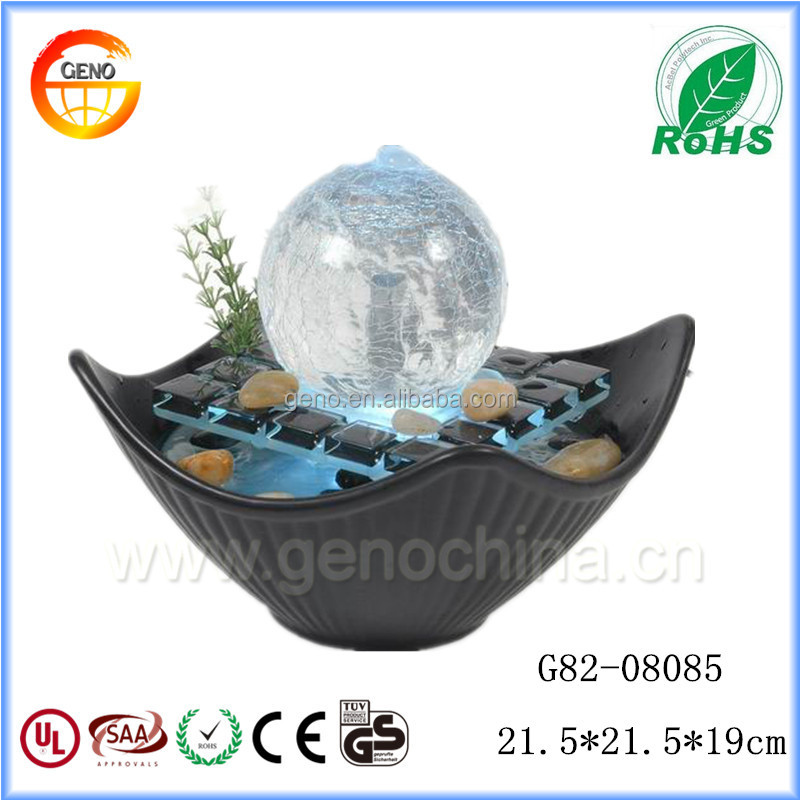 home decoration crafts Ceramic material table fountain with Glass Crystal ball
