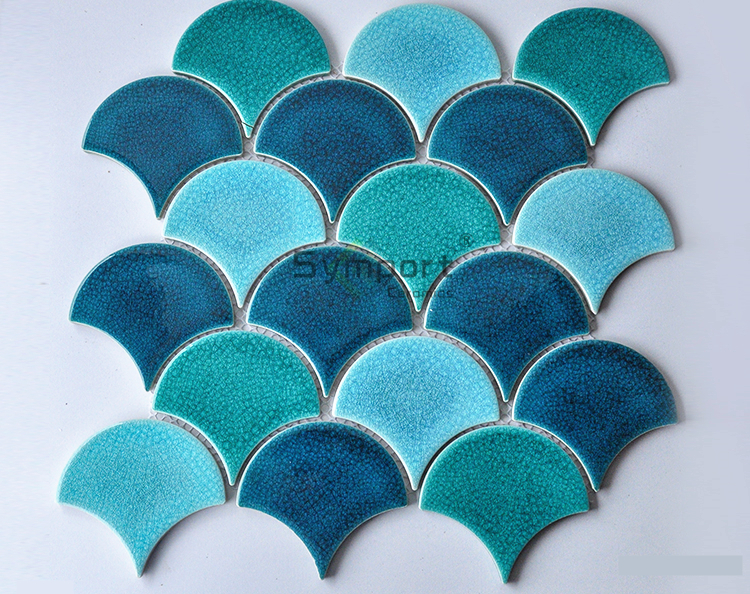 <strong>Blue</strong> Color Fish Scale Mosaic Ogee Drop Ceramic Fan Tile
