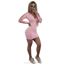 monroo Sexy Vestido De Festa Women Dress Party Dresses Long Sleeve Hollow Out Bodycon Dress Mini Solid Women Clothing