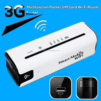 Newest Portable Pocket Wifi Router Support 2100MHz 1900MHz Multifunction 3G Wifi Router With SIM Card Slot
