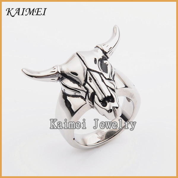 Exquisite Jewelry Fashion 316L Stainless Steel Silver Animal Shaped Rings For Men