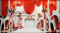 Nice Looking White Wedding Backdrop \ Stage Background White Curtain Red Drapes