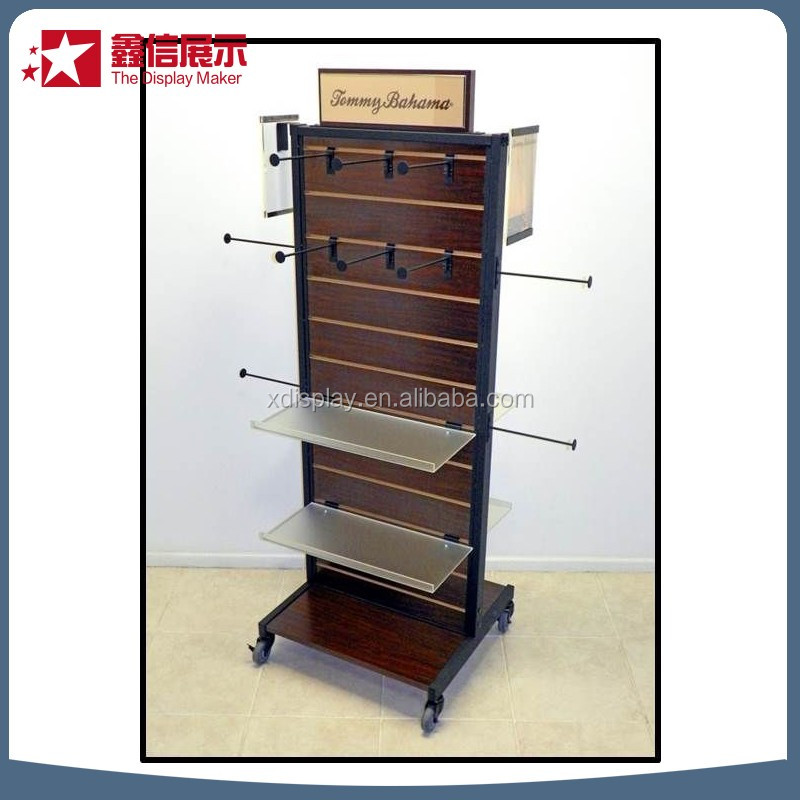 3 tier wood display stand with metal hook /acrylic display pieces