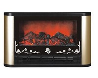 cheap electric fireplace heater Black frame with gold bar