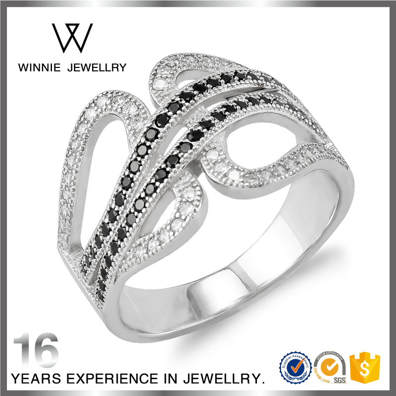 Wholesale black CZ stone Fashion Silver Ring For Men And Women Jewelry Wedding Rings-RC0461424157