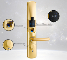 Zinc Alloy Keyless security digital touch screen biometric fingerprint door lock with Access Control