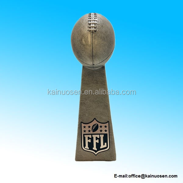 Resin Fantasy Football Silver Tower Trophy - 9.5 Inches Tall