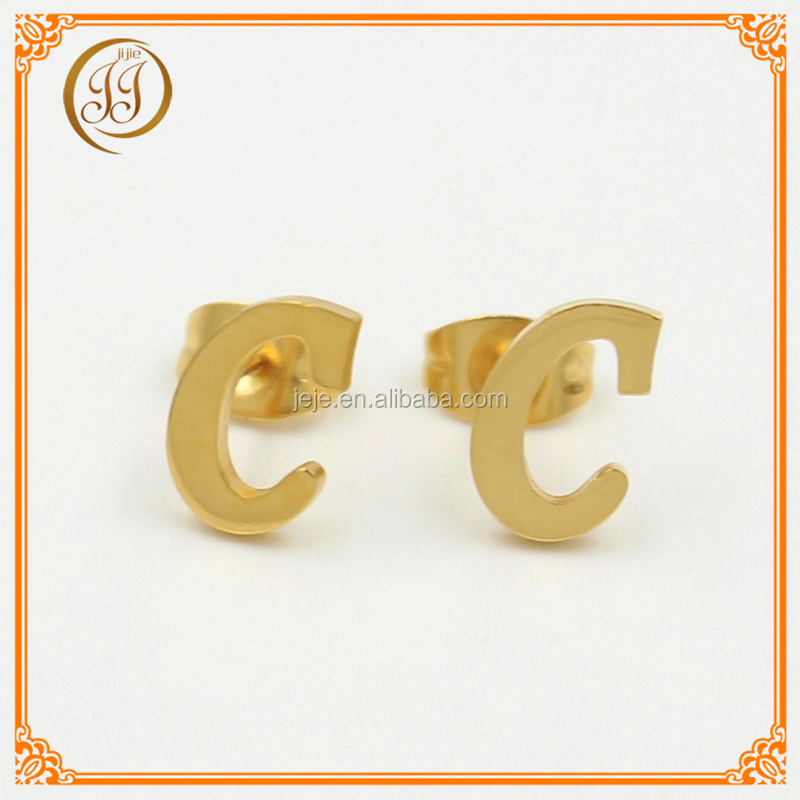 Promotional Cheap Jewelry Online Fashion Gold Studs Designs Stainless Steel C Shaped Letter Earing For Ladies