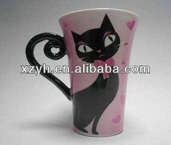 Ceramic Horn mug printed with grey cat design