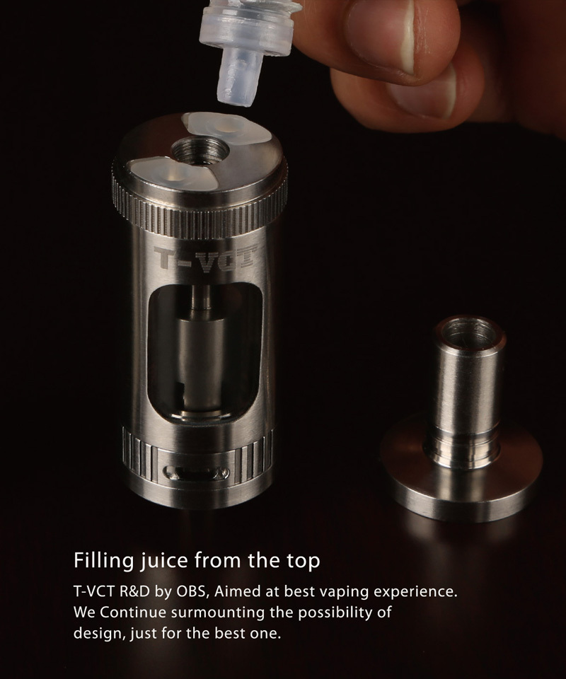 2015 OBS NEWEST design ecig atomizer T-VCT atomizer,adjust the juice from outside atomizer
