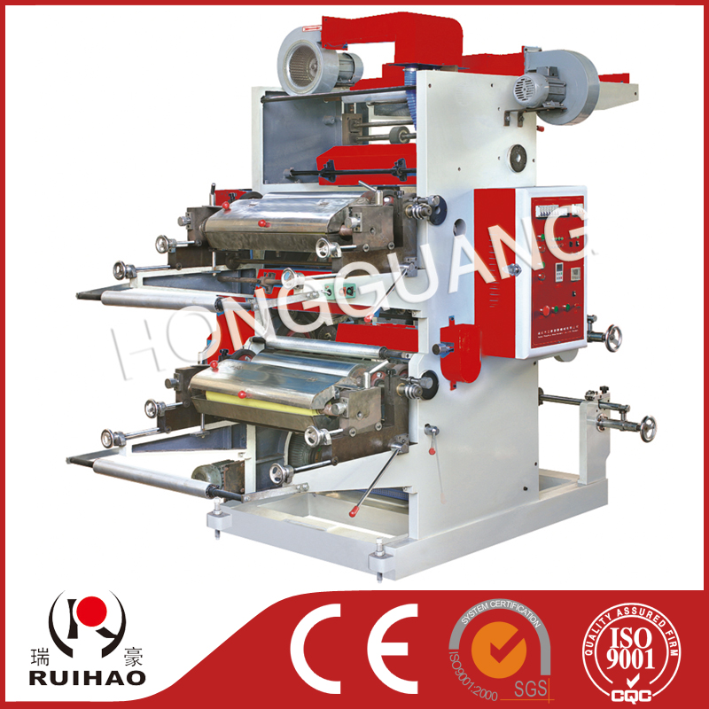 stack type 2 color paper bag flexo printing machine
