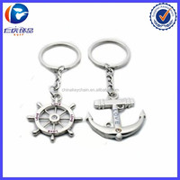 2015 New Metal Nautical Steering Wheel Anchor Charms Love Key Ring