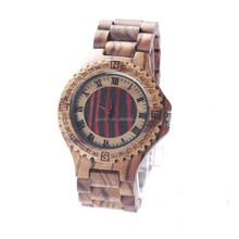 Wholesale Waterproof Mens Quartz Maple dial Wood Watch with private label
