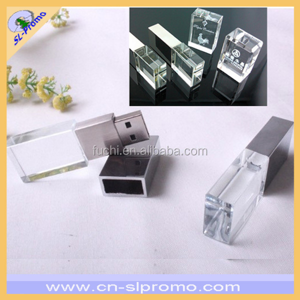 High Quality Crystal USB Flash Driver With Logo Engrave Inside for Promotion