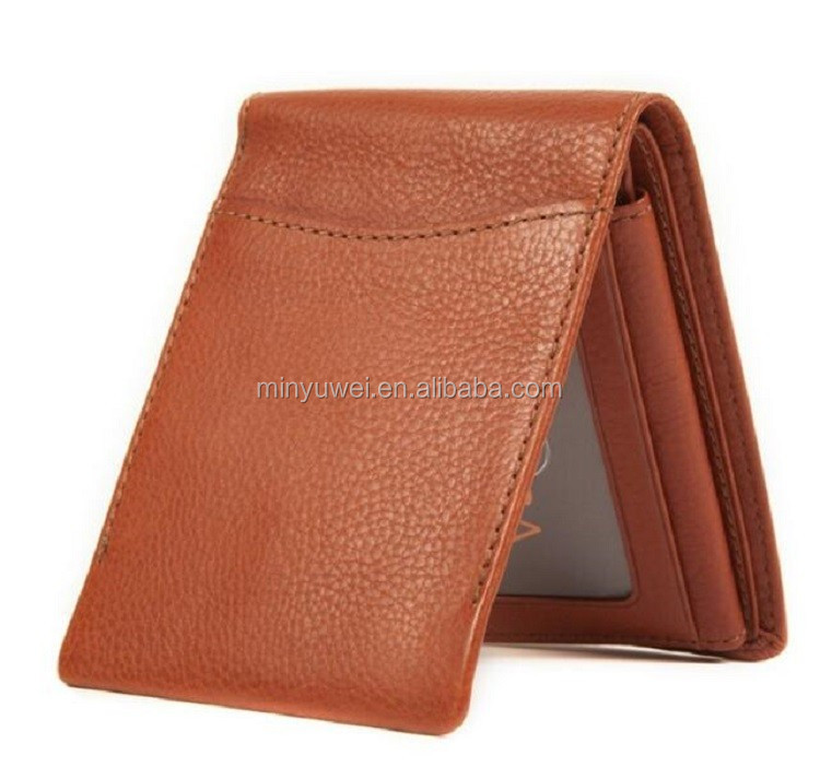 Wholesale classical style real leather men wallet with RFID Blocking front pocket