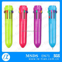 LT-Y987 promotional plastic 10 color ball pen, multicolor ballpoint pen