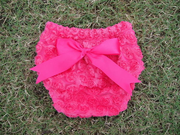 2017 girls hot pink baby bloomer with bow