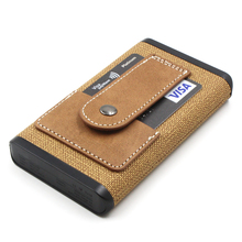 10000mAh Portable QC3.0 Dual USB Leather Power Charger, Khaki PU Leather Power Bank