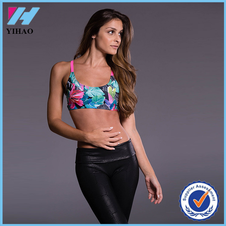 Yihao 2016 New Women Sexy Model Active Printed Sports www Yoga Wear Gym Bra com Crop Top