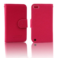 Many color available PU leather wallet cell phone cases for ipod touch 5 case