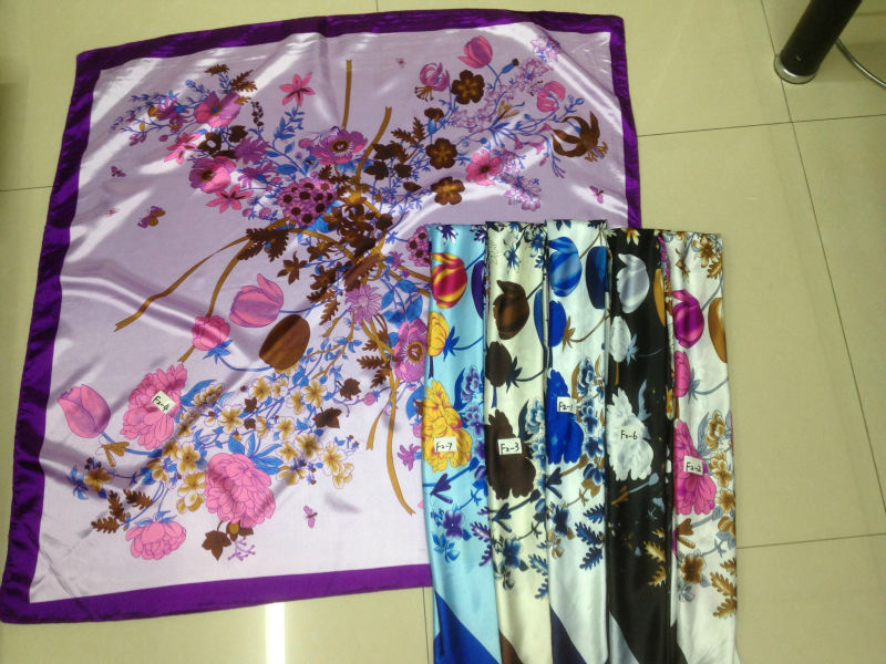 stock promotion poly satin square scarf cheap big scarves 90*90cm floral printed satin scarf