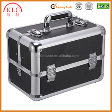custom-made Aluminum Makeup Cosmetic Train Case Jewelry Storage Organizer Box with Adjustable Cantilever Trays Black