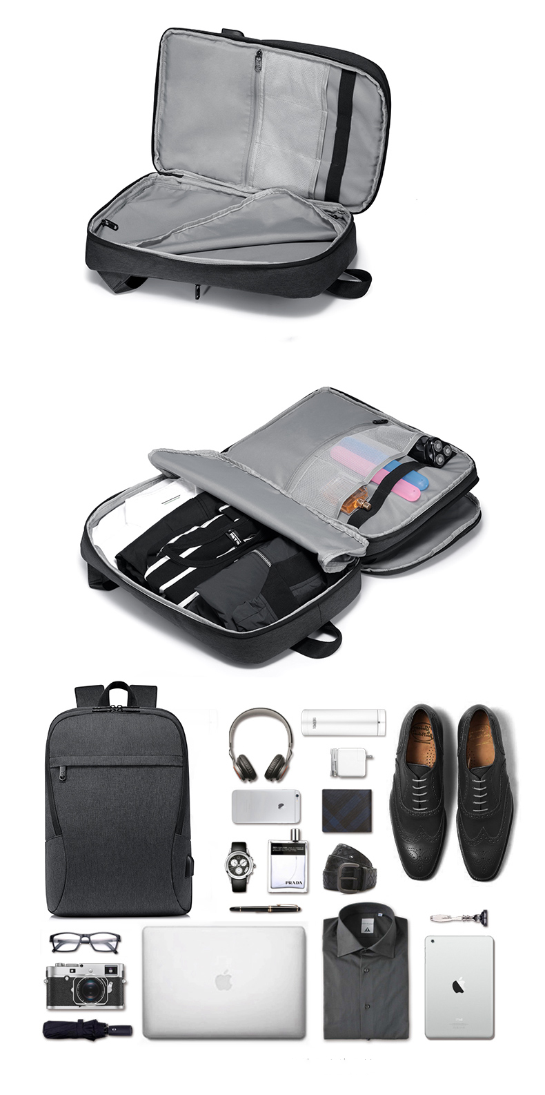 Fashion 30L multifunction water proof smart travelling day backpack back pack bagpack bag with USB earphone charger