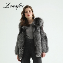 Most Popular Comfortable Grey Fashion Fox Fur Coat For Women