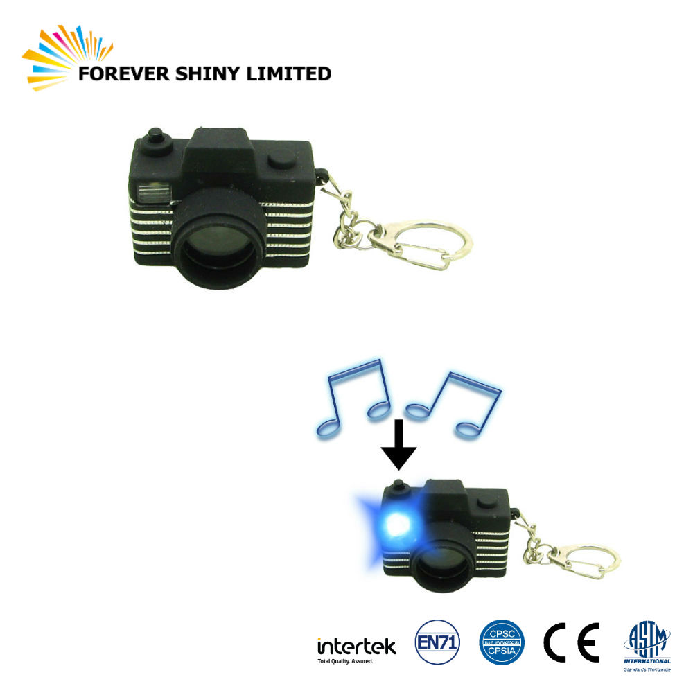 Custom Gift Small Capsule Toy with Sound Photograph Plastic Film DSLR Camera LED Light Keychain for Vending Machines