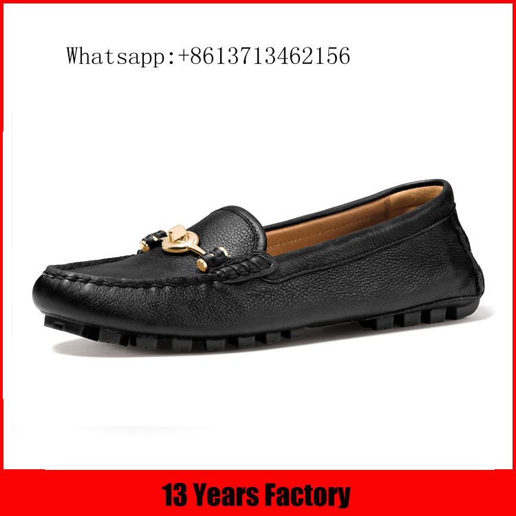 Hot selling wholesale best price black genuine leather material hand stiching round toe skidproof ladies flat shoes guangzhou