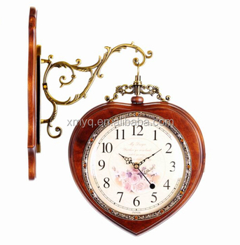 European Style Wood Art Wall Clock Double Sided Clock For Wedding Gifts