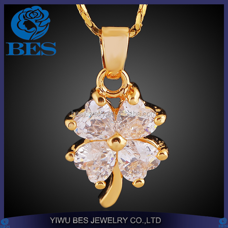 Wholesale Suppliers Pave Heart Diamond Four-Leaf Clover Pendant JX Jewelry