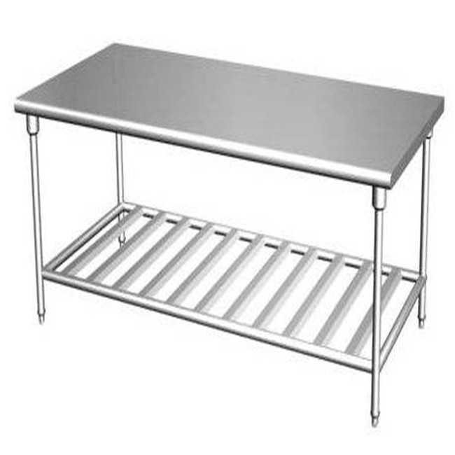 Custom Stainless Steel Work Table Best Quality Knocked-Down Stainless Steel Kitchen Equipment Two Tiers Work Table