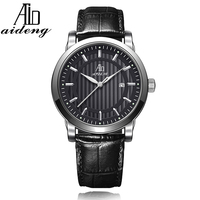Aideng New Noctilucent Dial Business Watch, Soft Genuine Leather Watch for Mens