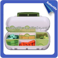 2015 promotional waterproof child pharmacy oem new 6 compartments pill container abs material pill case smooth drug case